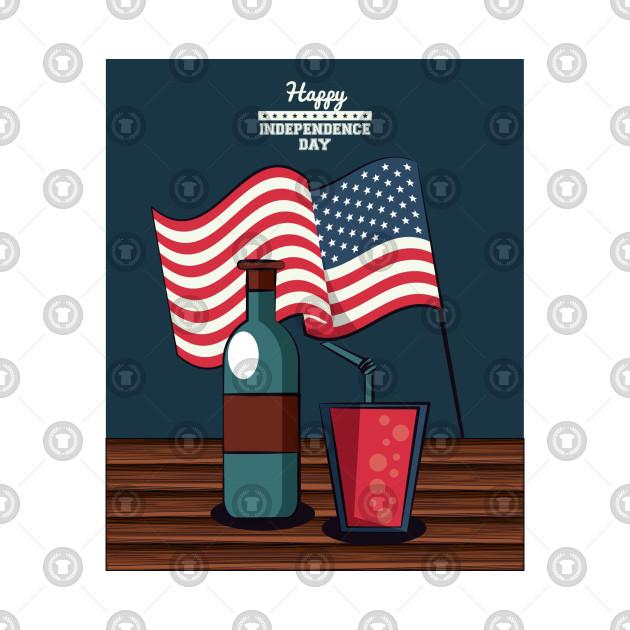 Independence Card American Flag - American Flag - T-Shirt TeePublic