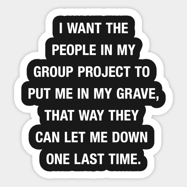 Group Project Let Me Down - Funny Group Project Quote - Sticker