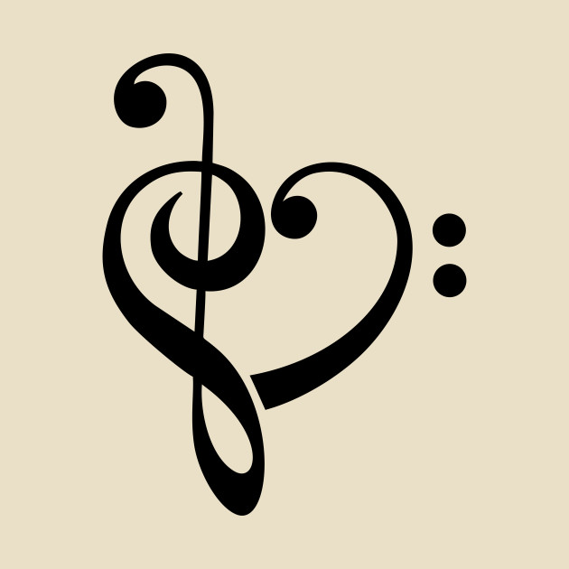 Music Heart, Bass Clef, Treble, Note, Notes - Music - T-Shirt