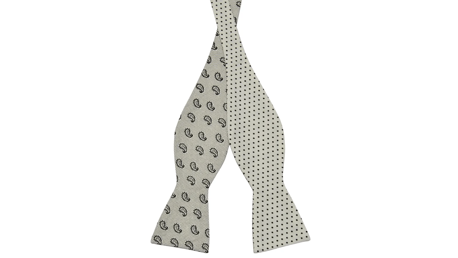 Black White Cotton Self Tie Bow Tie Dotted In Stock