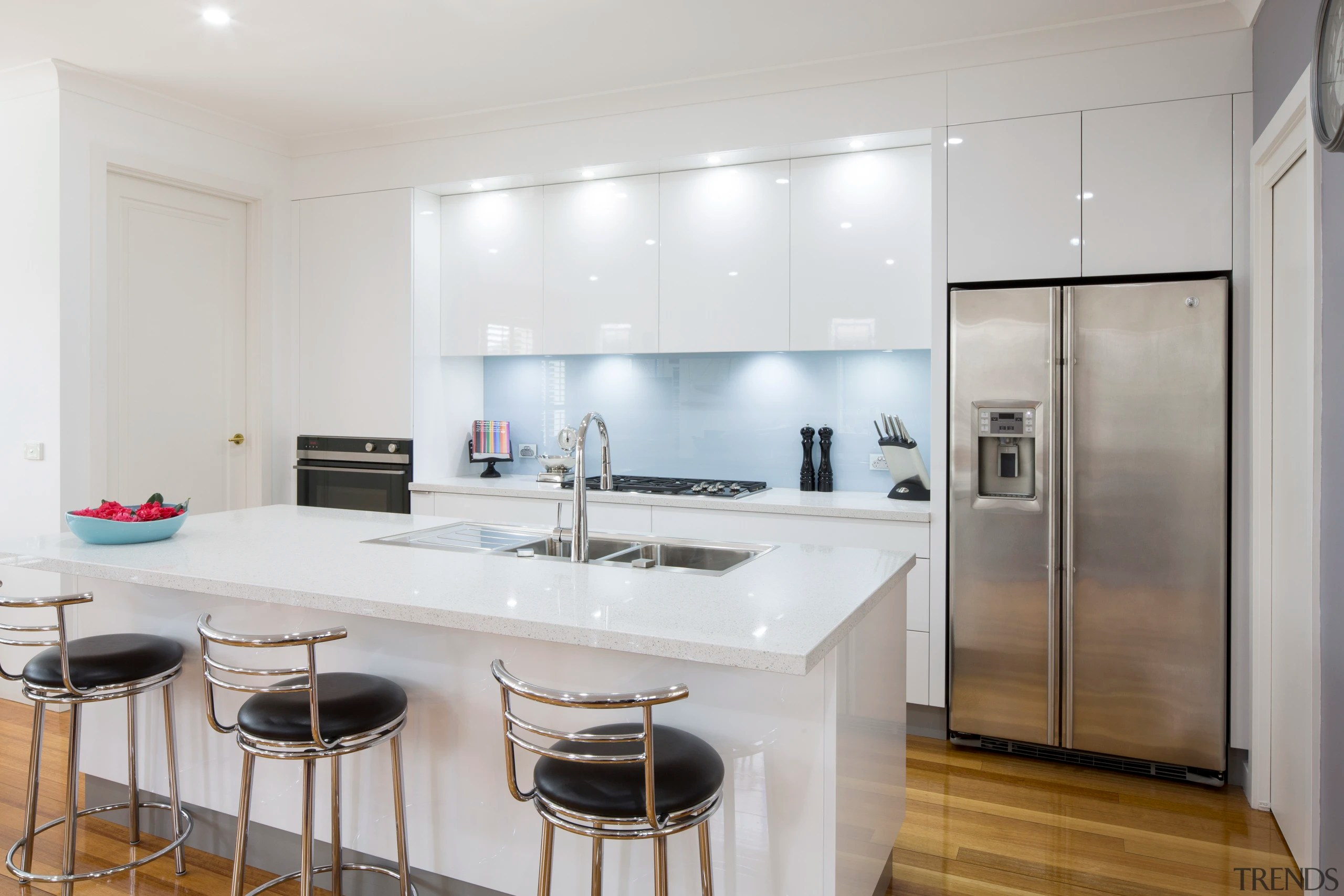 Glass Benchtops Contemporary White Kitchen With Pal Gallery 4 Trends