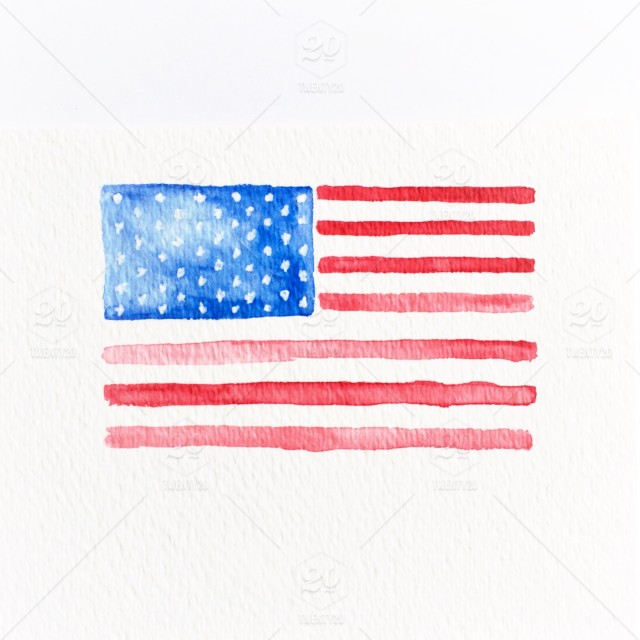 Watercolor painting of the American flag on a white background
