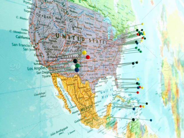 Travel map with pins of the world, wanderlust stock photo 44871d1d