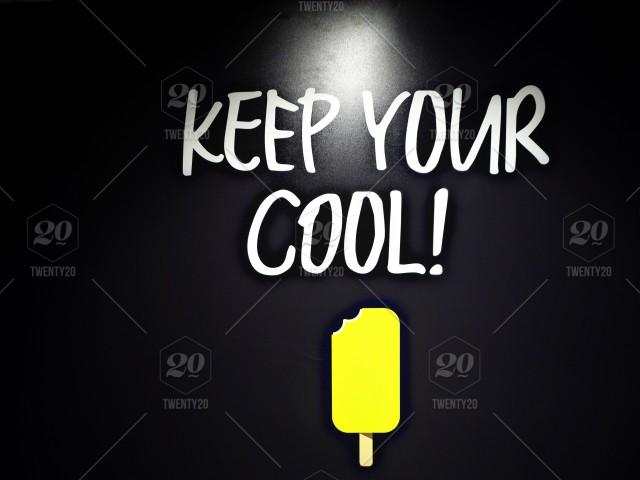 Wild words - Keep Your Cool, white words on black background, with a