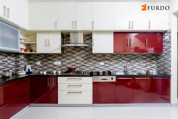 Modular Kitchen Design Red And White L Shape Kitchen With Red & White Cabinets By Furdo.com