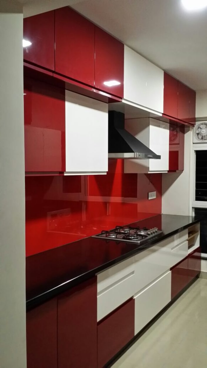 Modular Kitchen Design Red And White Red And White Modular Parallel Kitchen By Shreesamarth