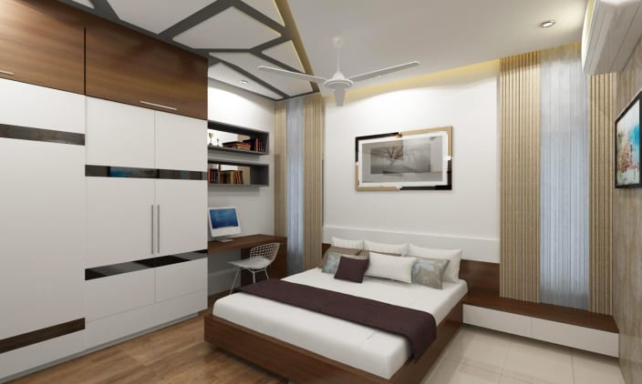 Bedroom With Wardrobe And Study Space By Adroit Design
