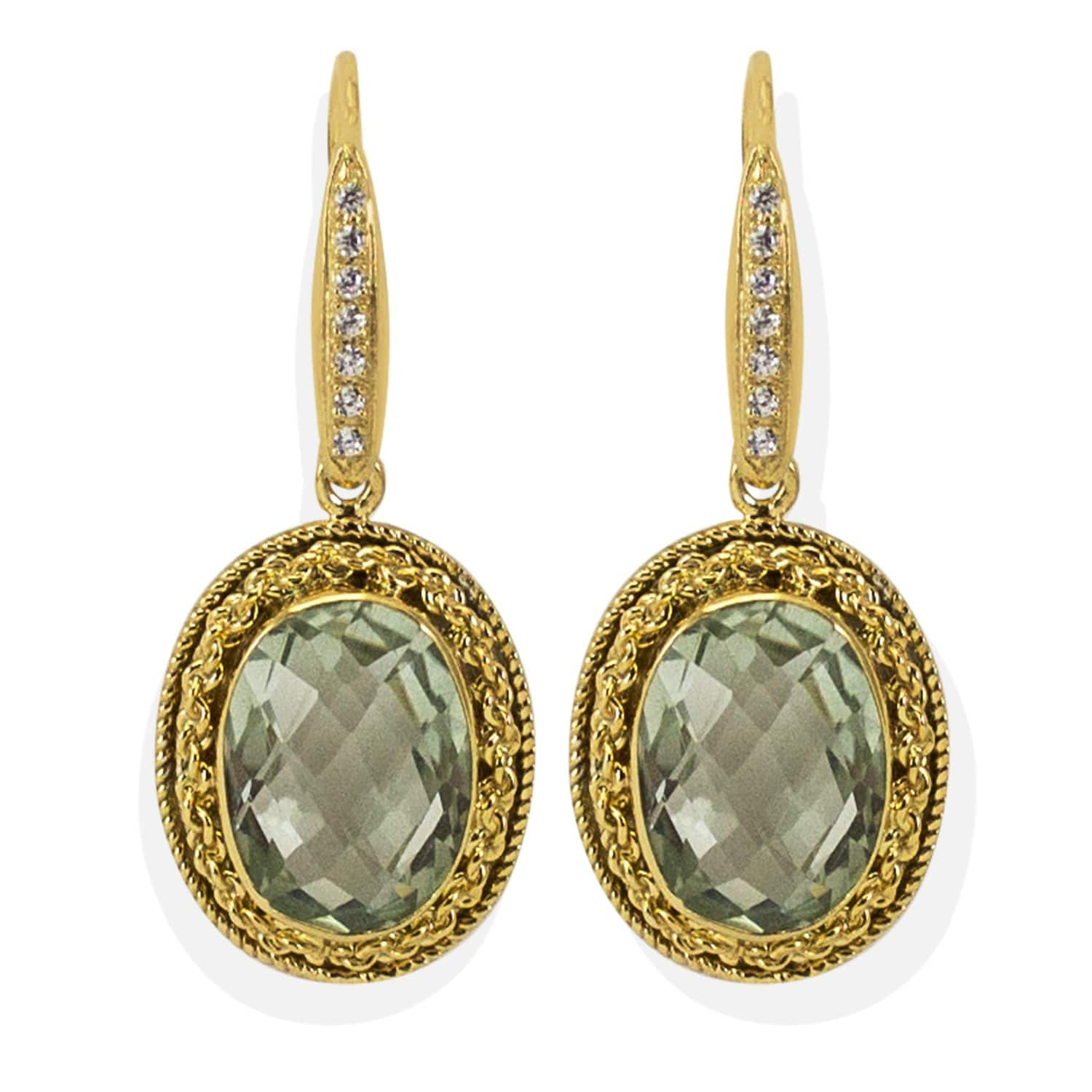 Italy Design Jewelry Minerva Prasiolite Earrings By Vintouch Italy