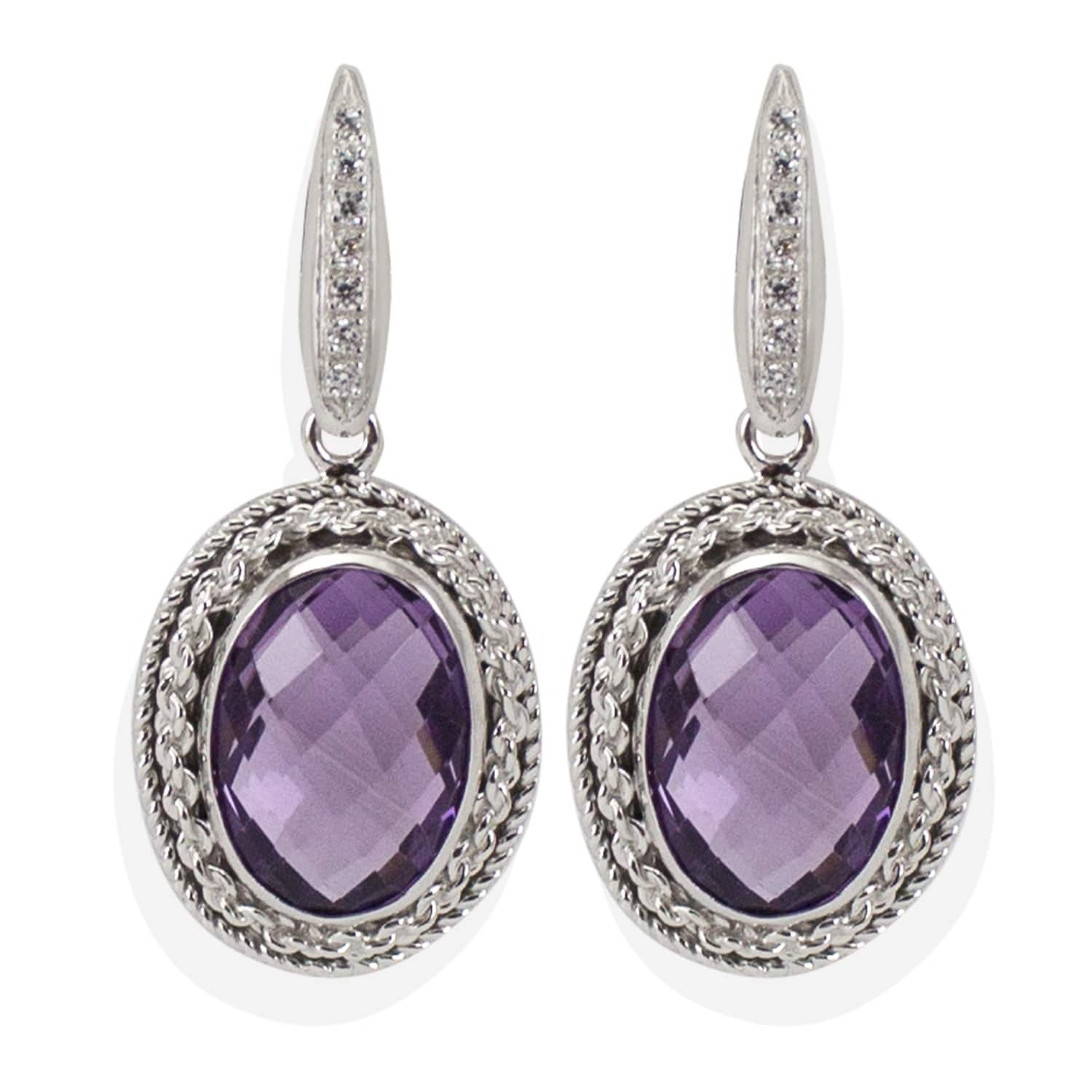 Italy Design Jewelry Minerva Amethyst Earrings By Vintouch Italy