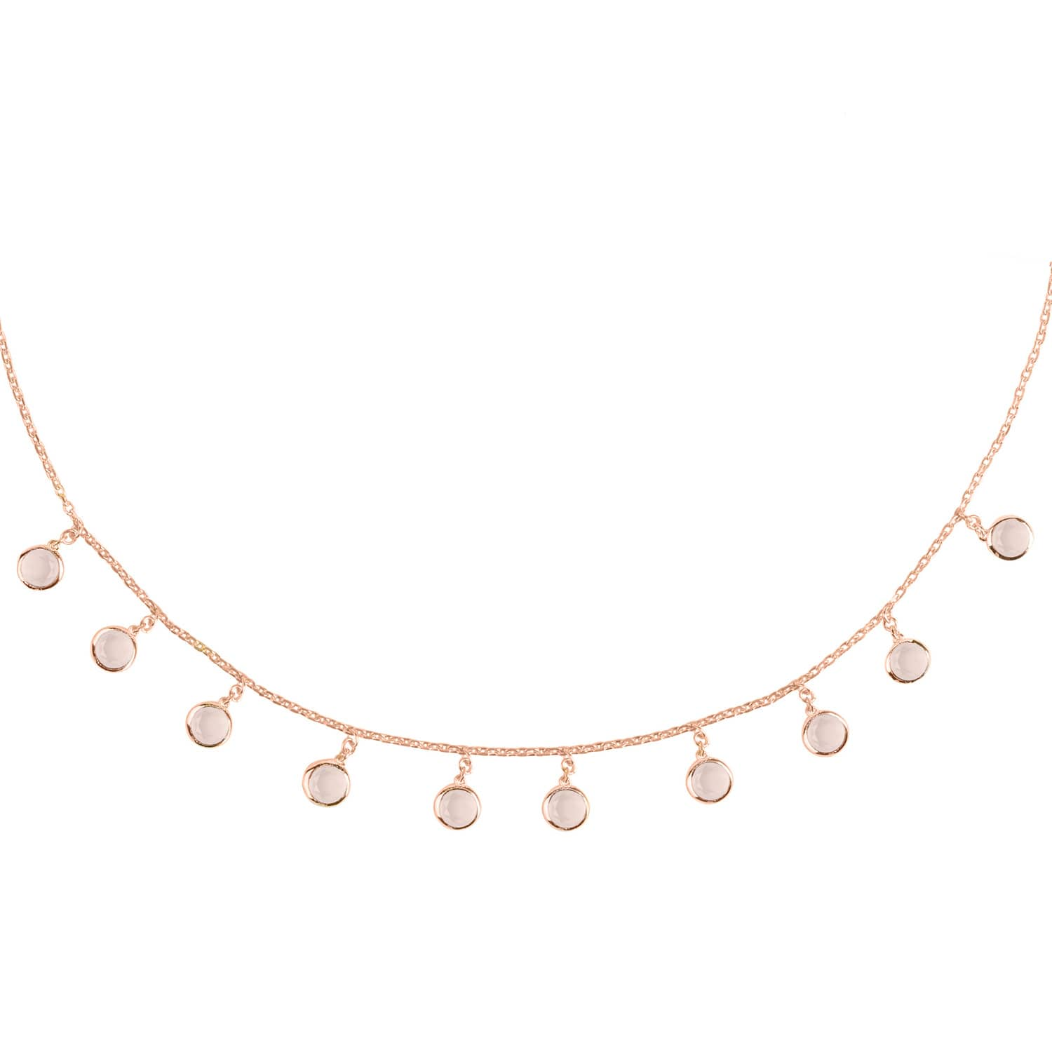 Florence Round Florence Round Gemstone Necklace Rosegold Rose Quartz By Latelita
