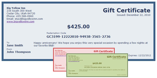 ReservationKey Gift Certificates - gift certificate template pages