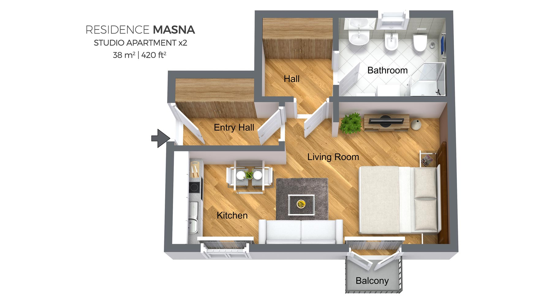 How To Set Up A Studio Apartment Studio Apartment Type 2 Residence Masna