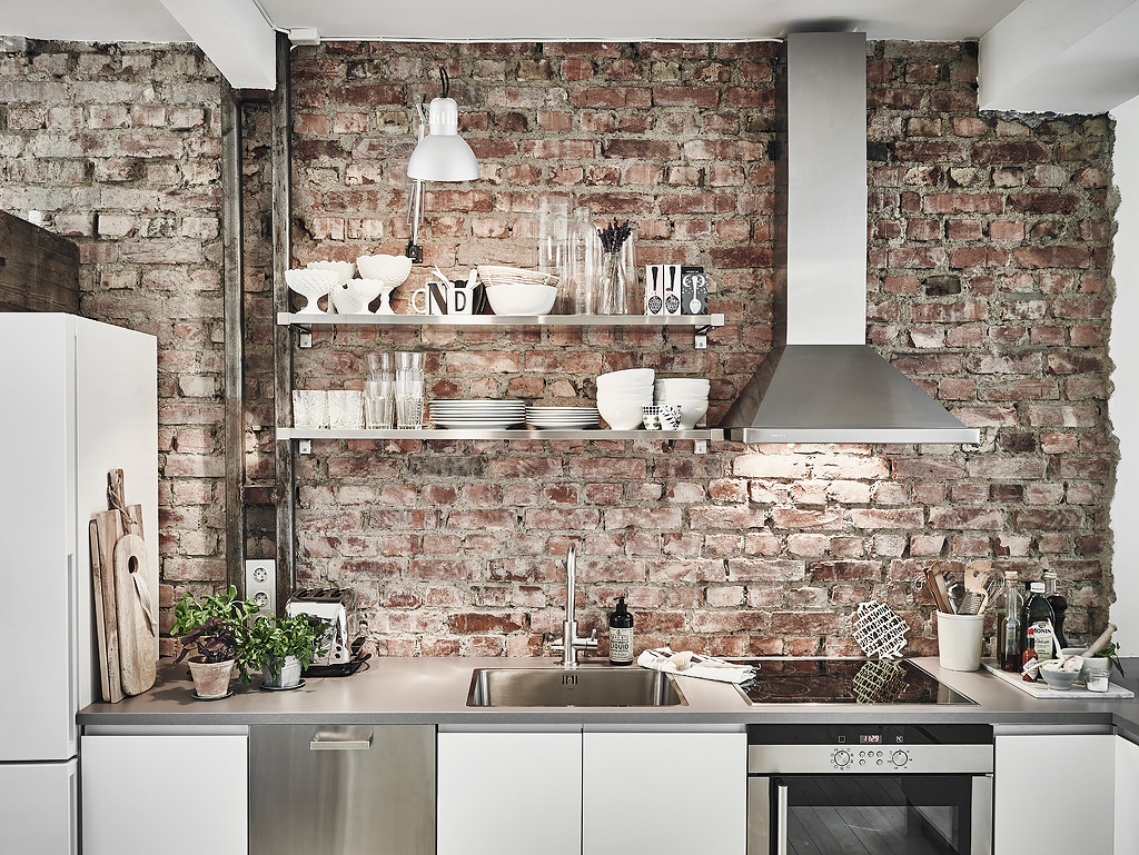 Kitchen Brick Wall Scandinavian Interior Apartment With Mix Of Gray Tones
