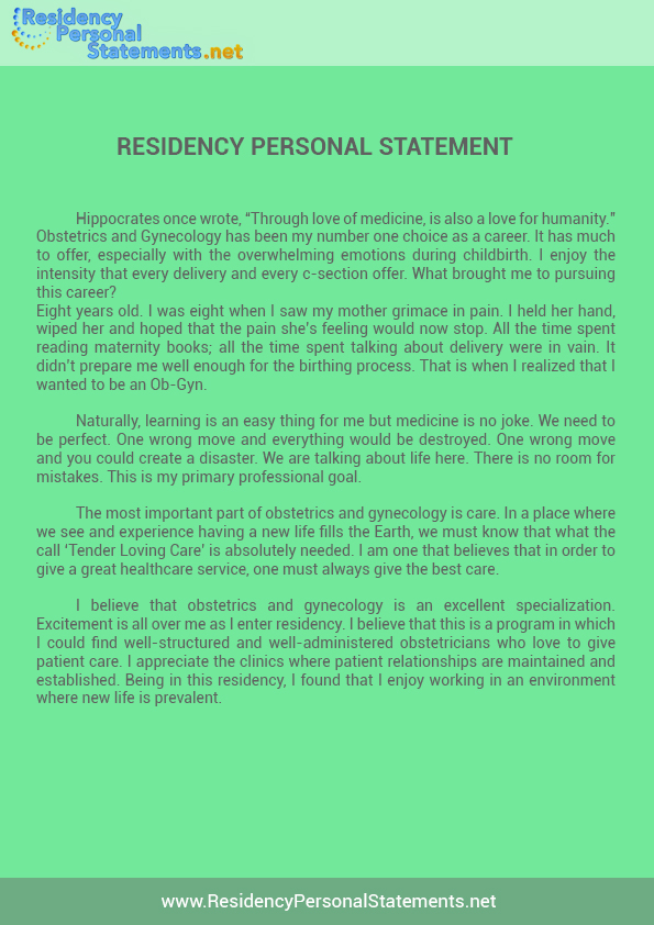 Outstanding Residency Personal Statement Writing Service - residency personal statement