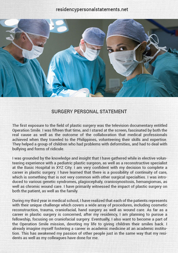 Impressive Surgery Residency Personal Statements - residency personal statement