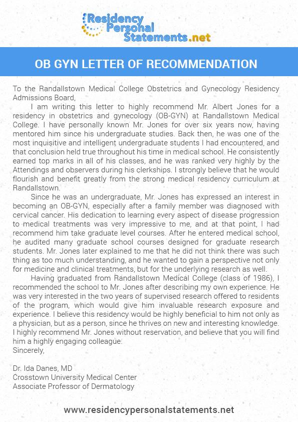 letter of recommendation for medical residency