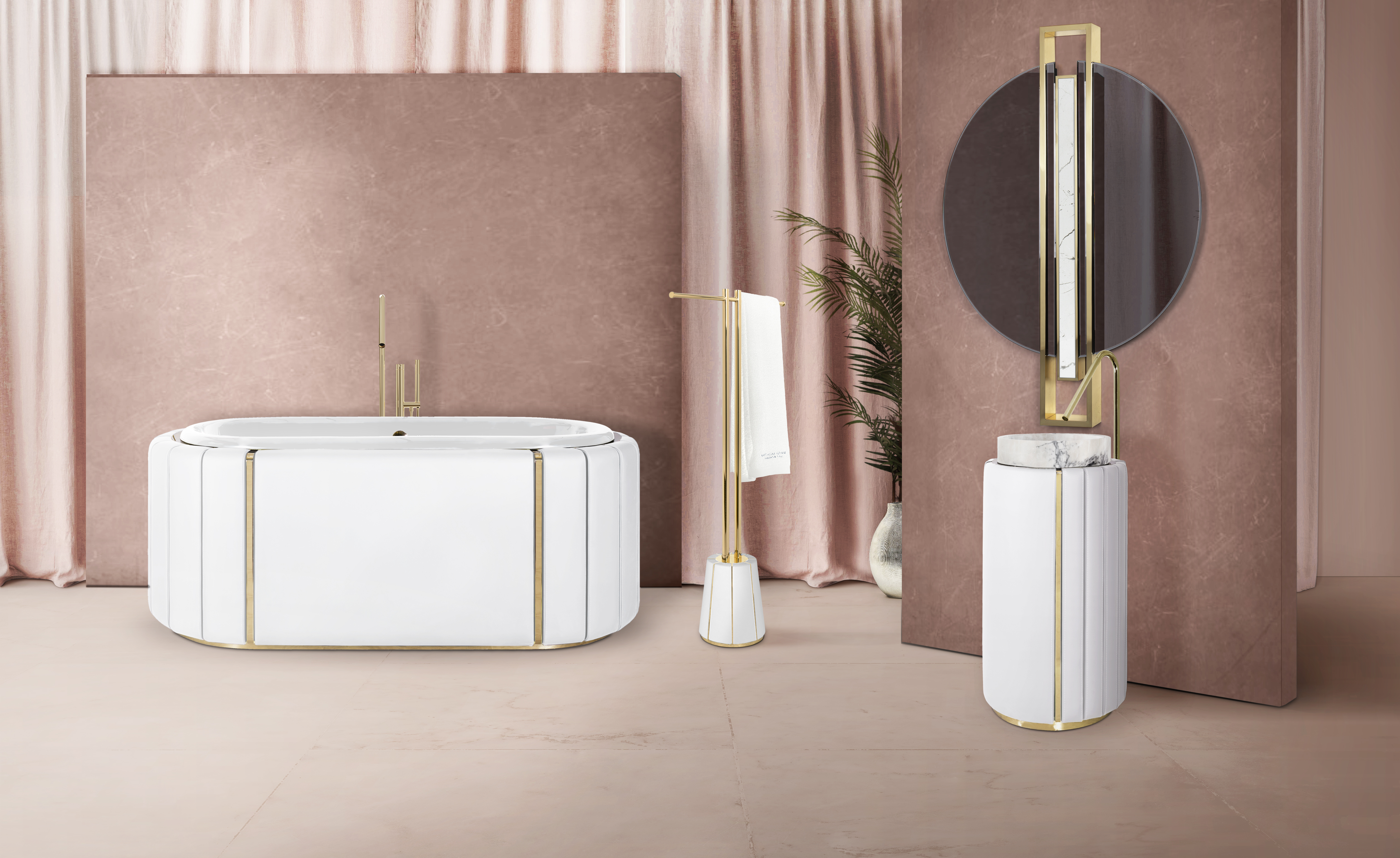 Latest Bath Collection From Maison Valentina Combines Leather Gold Residential Products Online