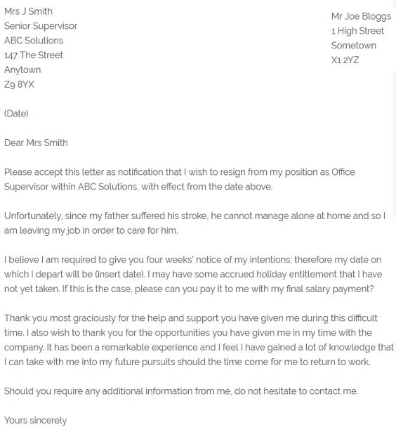 Resignation Letter Example - Due to Family Illness - resignletterorg