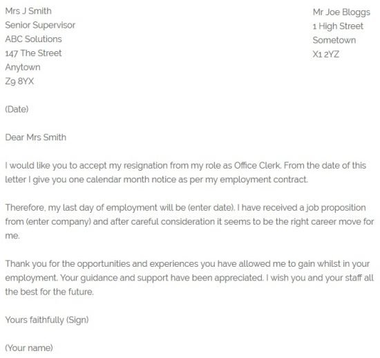 Office Clerk Resignation Letter Example - resignletterorg - one day resignation letter