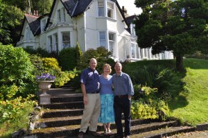 Louise and Alistair Campbell (middle and right) at the Camus House in Glencoe