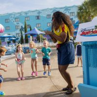 "Kids can splash into summer with the new Disney Junior pool Party at Walt Disney World Resort hotel pools. Youngsters can compete in poolside games like Sofia Says, Doc McStuffins trivia, and sing and dance to favorite hit songs from the popular Disney Channel and Disney Junior shows including ""Doc McStuffins,"" ""Sofia the First,"" ""Mickey Mouse Clubhouse,"" ""Miles from Tomorrowland,"" and ""Jake and the Neverland Pirates"". Disney Junior pool parties take place daily at all Disney resort hotels at various times throughout the day. (Mariah Wild, photographer)"