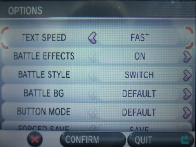 In the Options menu, you can change the settings for the following:
