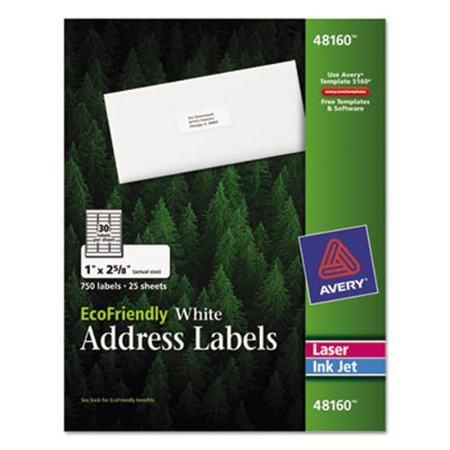 Avery 48160 EcoFriendly Address Labels, 1 x 2-5/8, White AVE48160