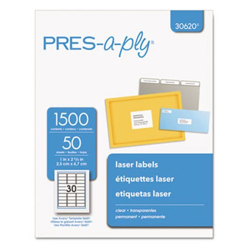 Avery Pres-A-Ply Laser Address Labels, 1 x 2-5/6, Clear, 1500/Box