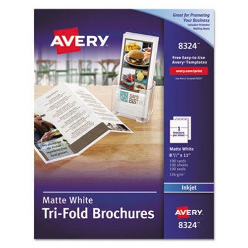 Avery Brochure Paper, Matte, 8-1/2 x 11, White, 100 Sheets/Box AVE8324