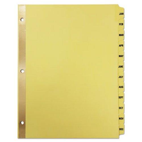 Universal Preprinted Plastic-Coated Tab Dividers, 12 Month Tabs - folder dividers tabs