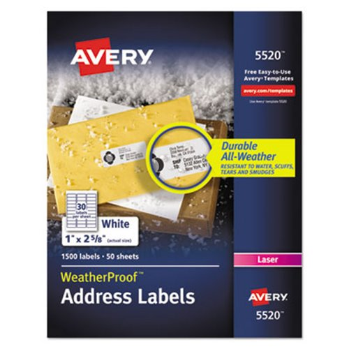 Avery 5520 Weatherproof Address Labels, White, 1 x 2-5/8 AVE5520
