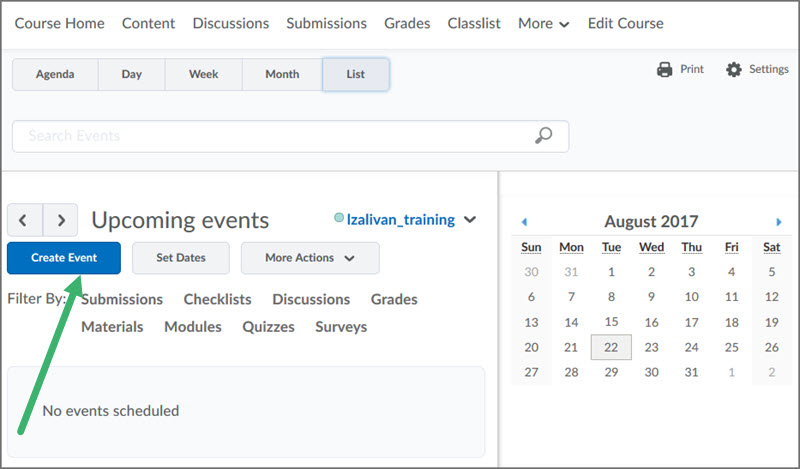 Adding Calendar Events in D2L Course Home Tools Desire2Learn - steps for creating a grant calendar
