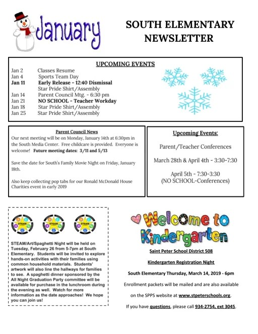South Elementary Newsletters - Saint Peter Public Schools