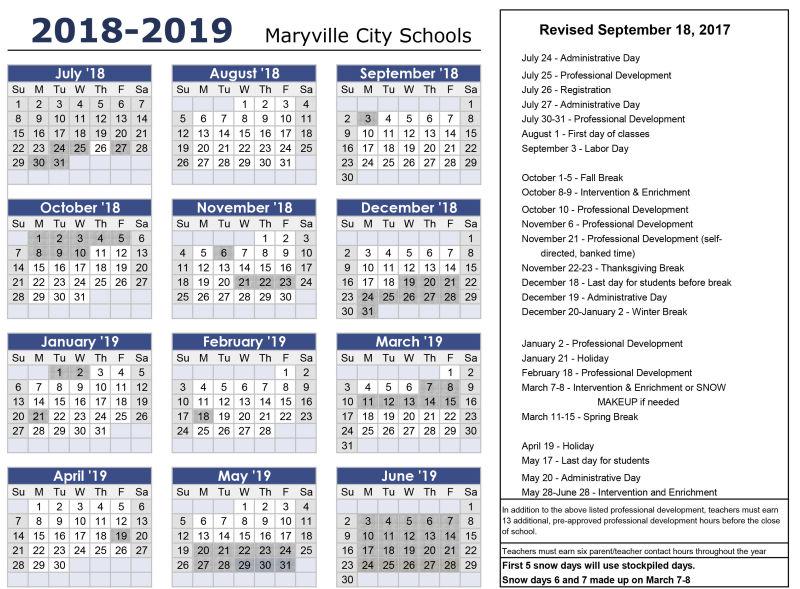 2018-19 Calendar (print ready) - Maryville City Schools - 12 calendar