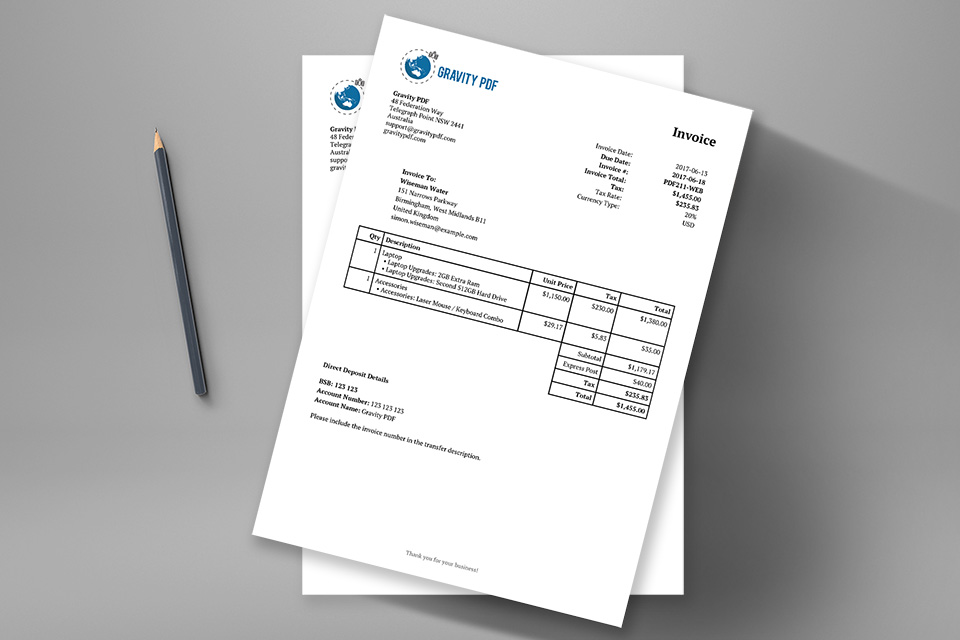 Invoice Classic \u2013 a Gravity Forms invoice Gravity PDF