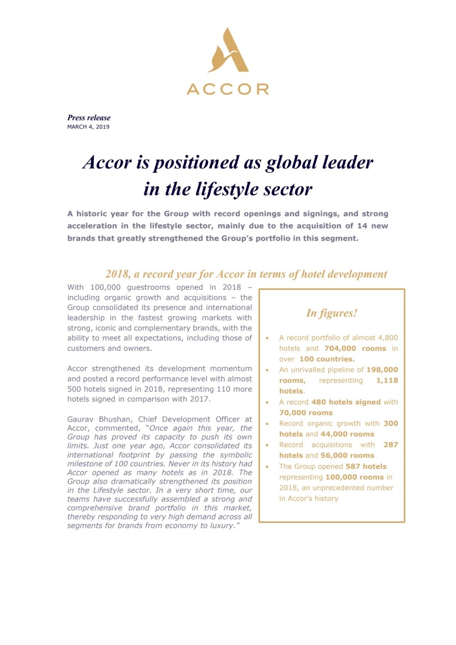 Accor Group Accor Is Positioned As Global Leader In The Lifestyle Sector Accor
