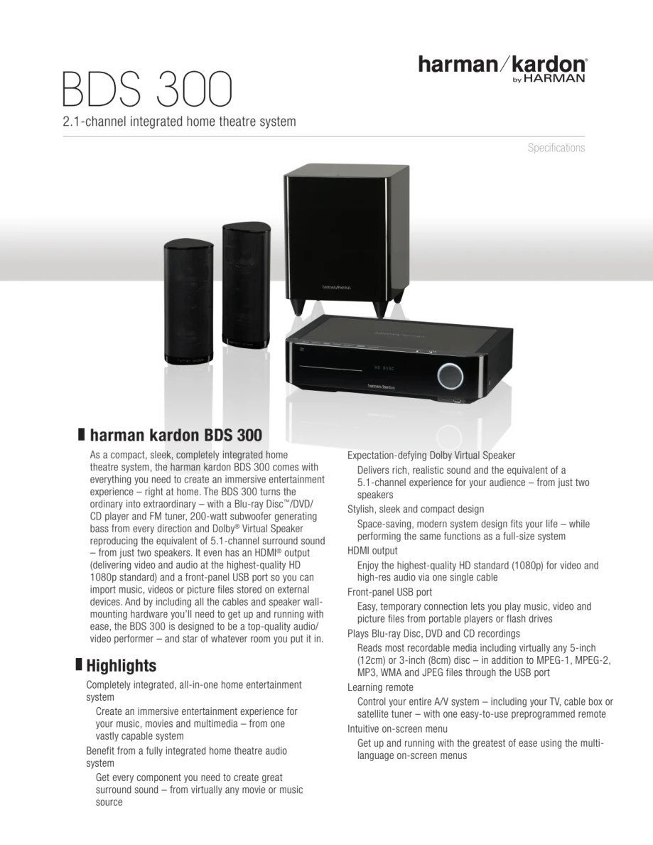 Bds 300 Specification Sheet Harman Kardon Bds 300 English Harman