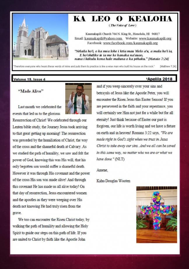 Kaumakapili Church - Newsletter - church newsletter