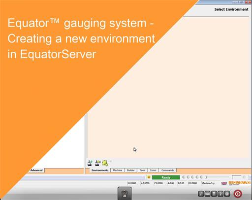 Training module Equator gauging system - Creating a new Environment