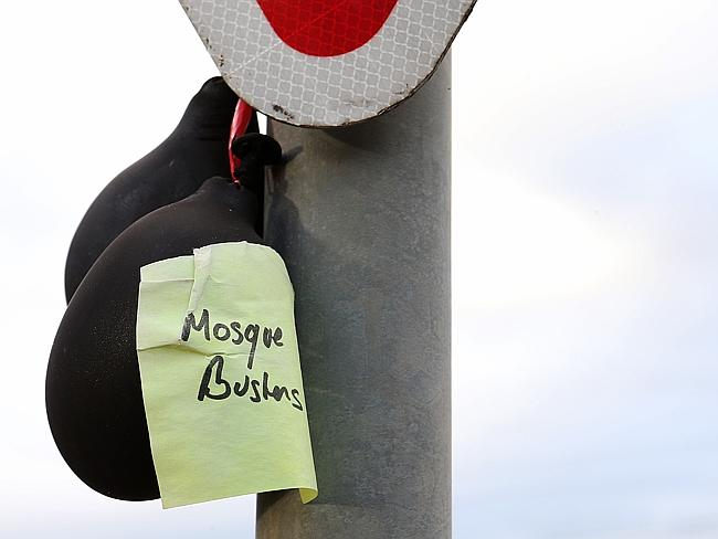 """Mosque busters"": Black balloons on the corner of Rowena Street and Rohs Road in Bendigo"