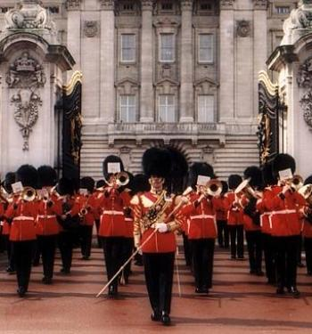The Band Of The Scots Guards Performing Outside Buckingham Palace In