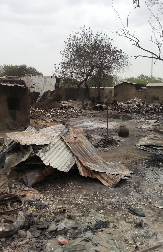 Another photo from April 2013 shows the ruins of burnt out houses in Baga village in Nige