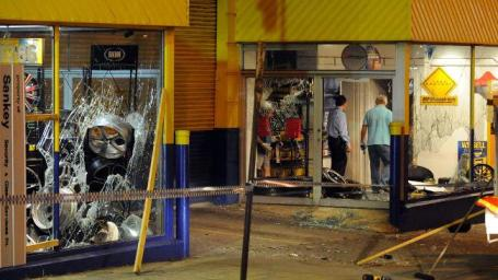 Damage done to a Victorian Bob Jane T-Marts store after hoons ransacked the shop in protest of the cancellation of a race meet. Picture: Darren Tindale