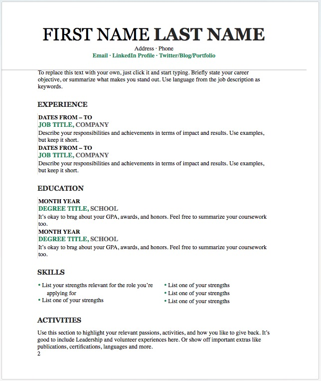 20 Free resume Word templates to impress your employer - Responsive - Resume In Word