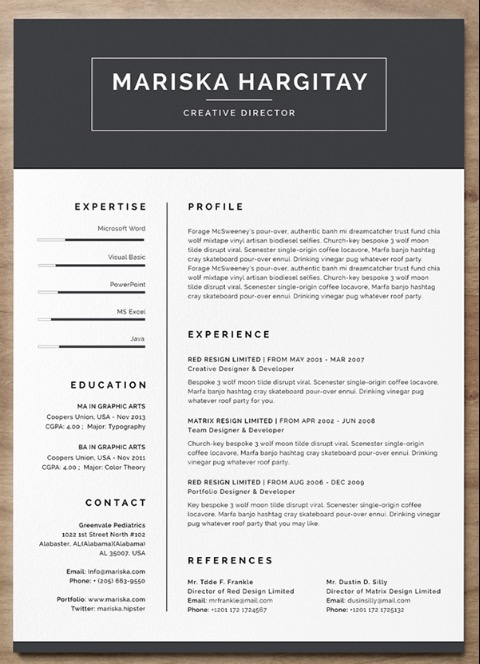 free resume header templates