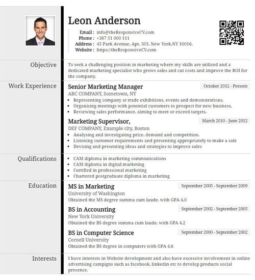 resume template on my phone