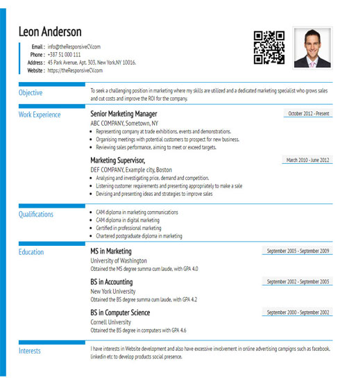 Online CV Builder with Free Mobile Resume and QR Code - Resume Maker - what is a cv resume