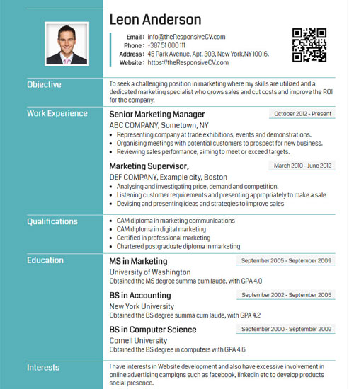 online cv builder with free mobile resume and qr code resume maker 91 - Free Online Cv Builder
