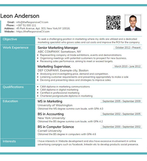 Online CV Builder with Free Mobile Resume and QR Code - Resume Maker - resume template website