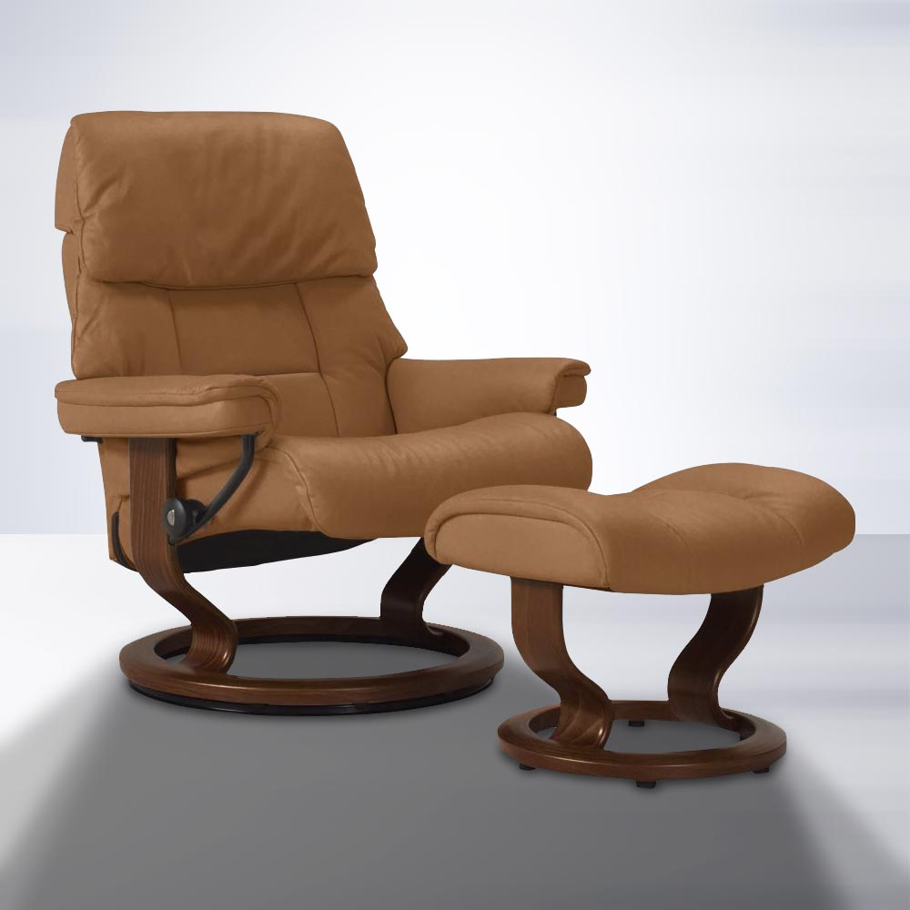 Stressless Ruby Ruby Classic Chair And Ottoman In Taupe
